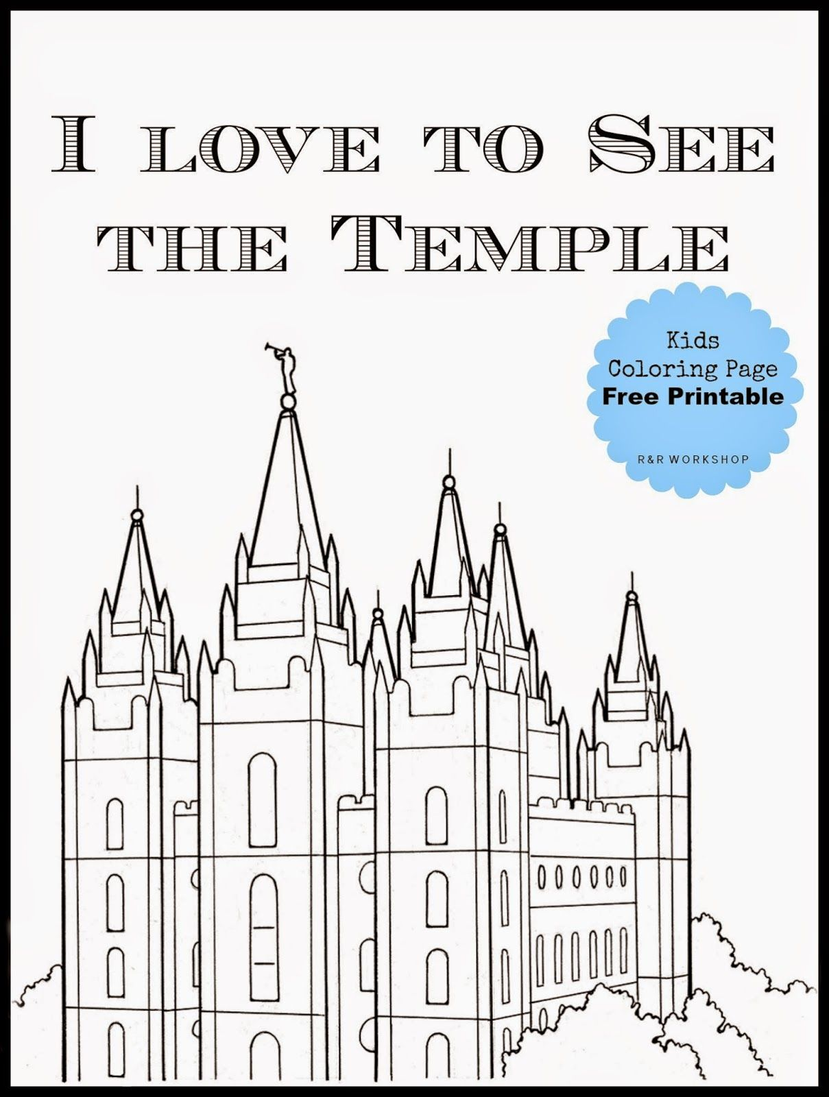 Salt Lake Temple Coloring Page Free Printable Lds Coloring