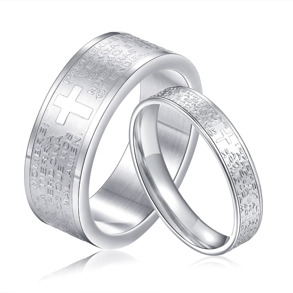 440cb4e754 Trendy Korean Couple Cross Ring Bible Text Titanium Steel Jewelry Rings 8MM  wIdth for Male 4MM wIdth for Female FL043