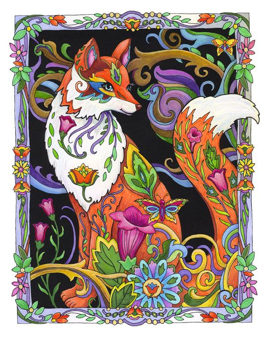 Creative Haven Fanciful Foxes By Marjorie Sarnat Foxy Lady Color