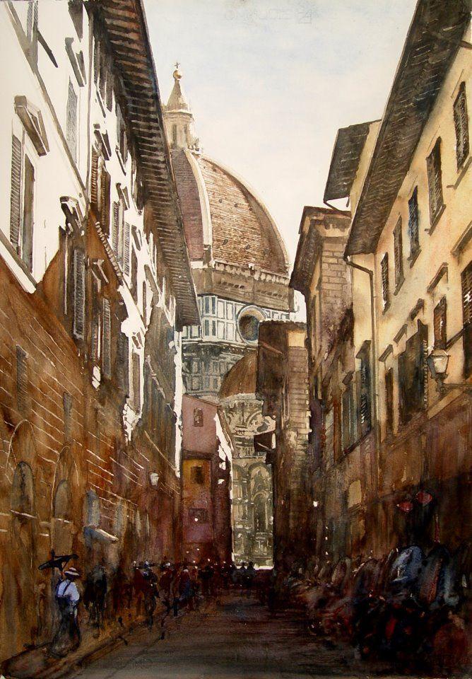 Paul Dmoch Duomo Vue De La Via Dei Servi Florence Cityscape