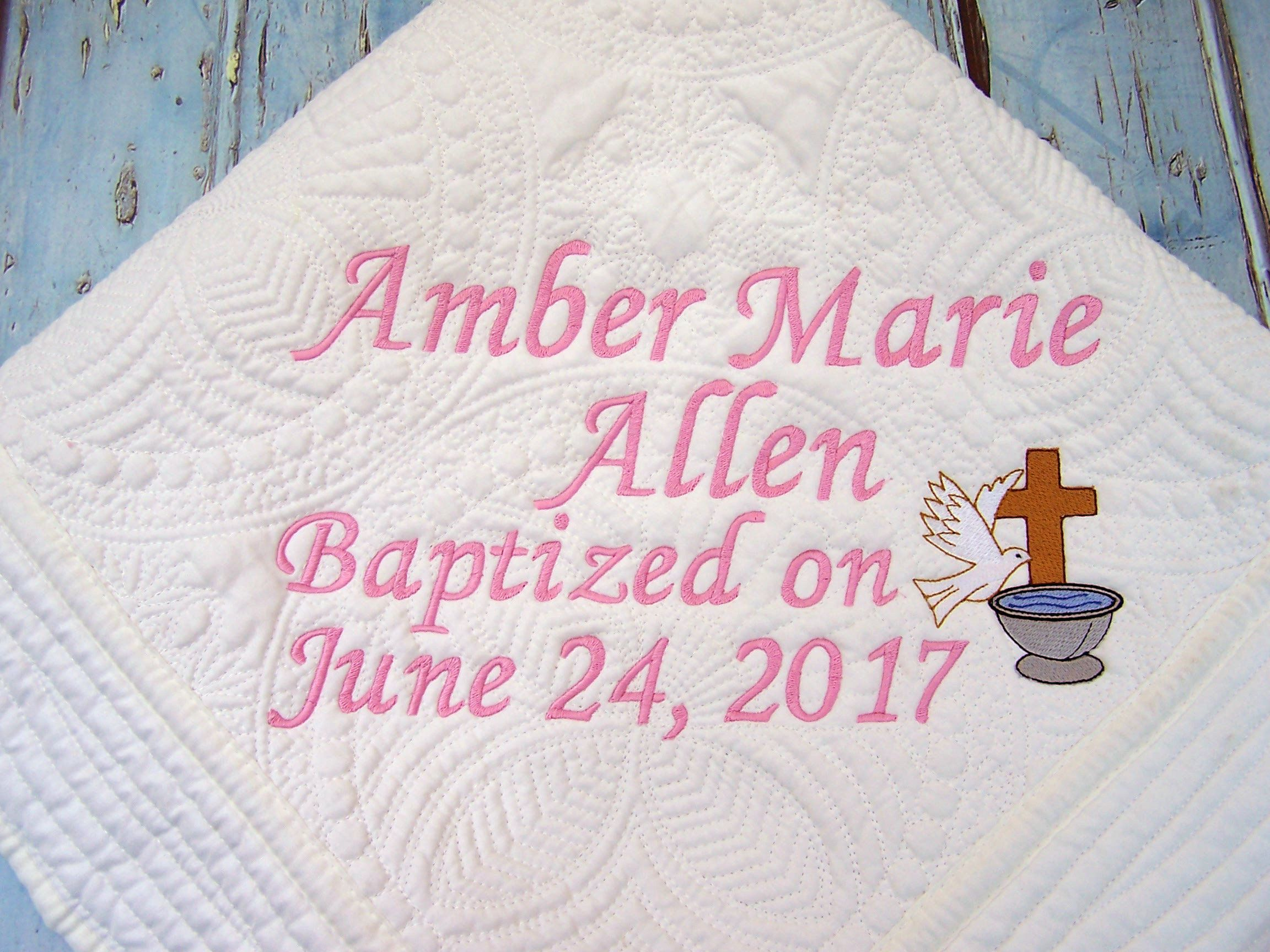 Personalized baby quilt personalized quilt baptismal quilt personalized baby quilt personalized quilt baptismal quilt christening quilt baby quilt negle Image collections