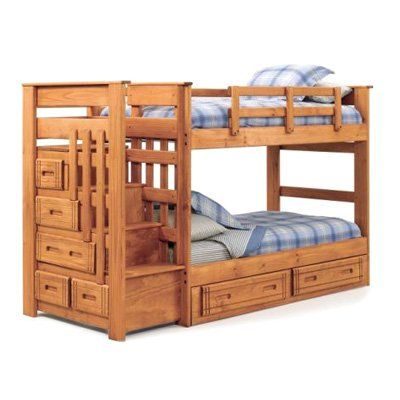 Boys Room Woody Creek Twin Over Twin Bunk Bed With Stairs