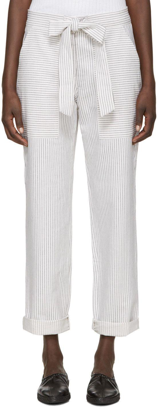 YMC - White Linen Pinstripe Trousers