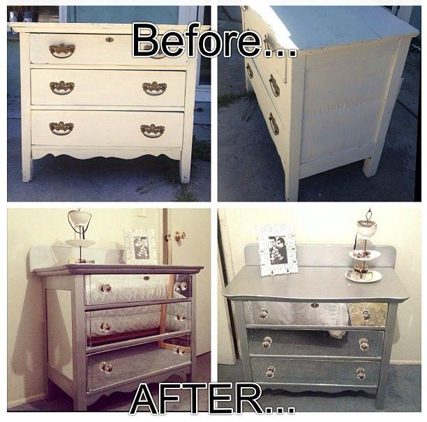 Diy Mirror Dresser Upgrade Diy Mirror Dresser Diy Mirrored