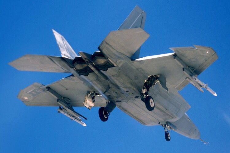 A USAF Lockheed Martin F-22A Raptor.