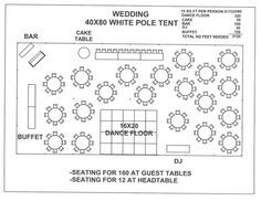 Wedding Tent Floor Plan, Reception Floorplan, 40X80 Tent