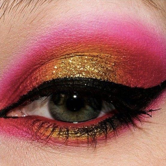 #pink #yellow liquid eyeliner #makeup