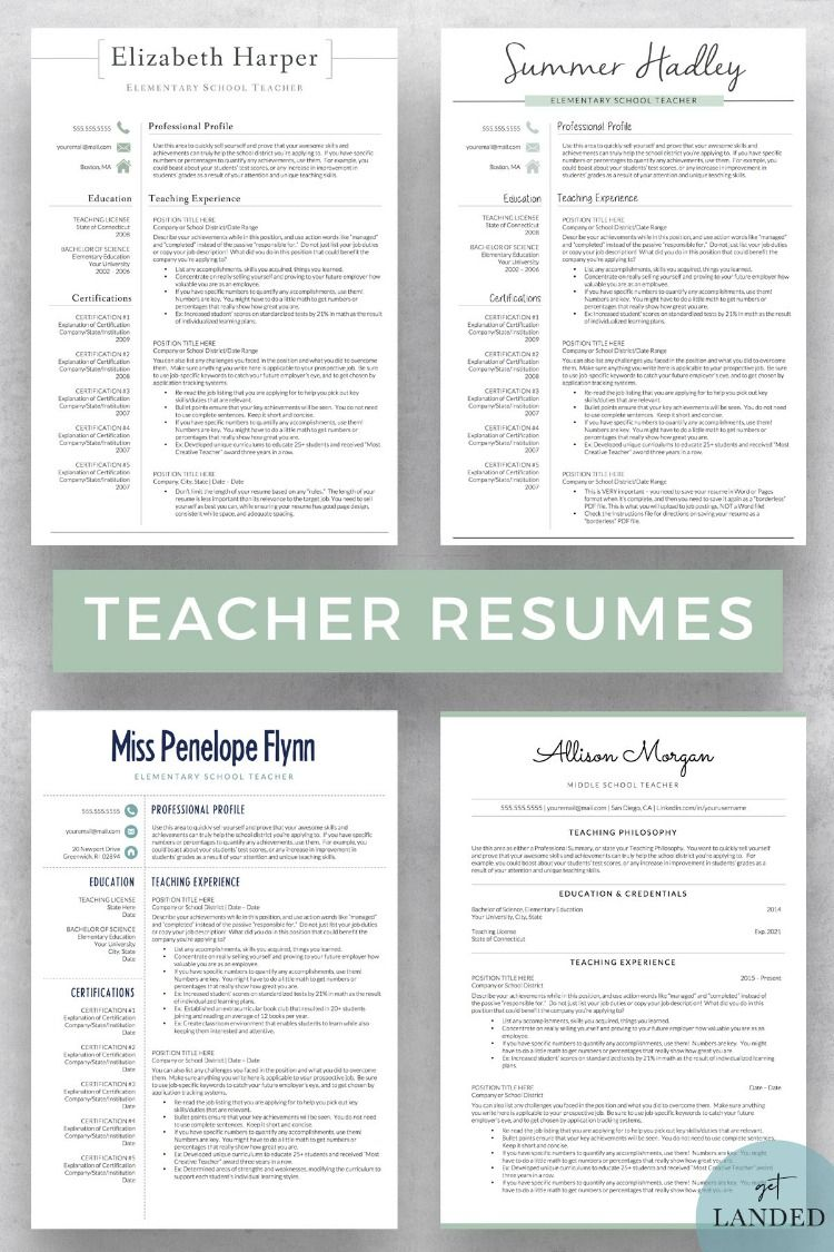 Resume templates designed with teachers in mind! Including