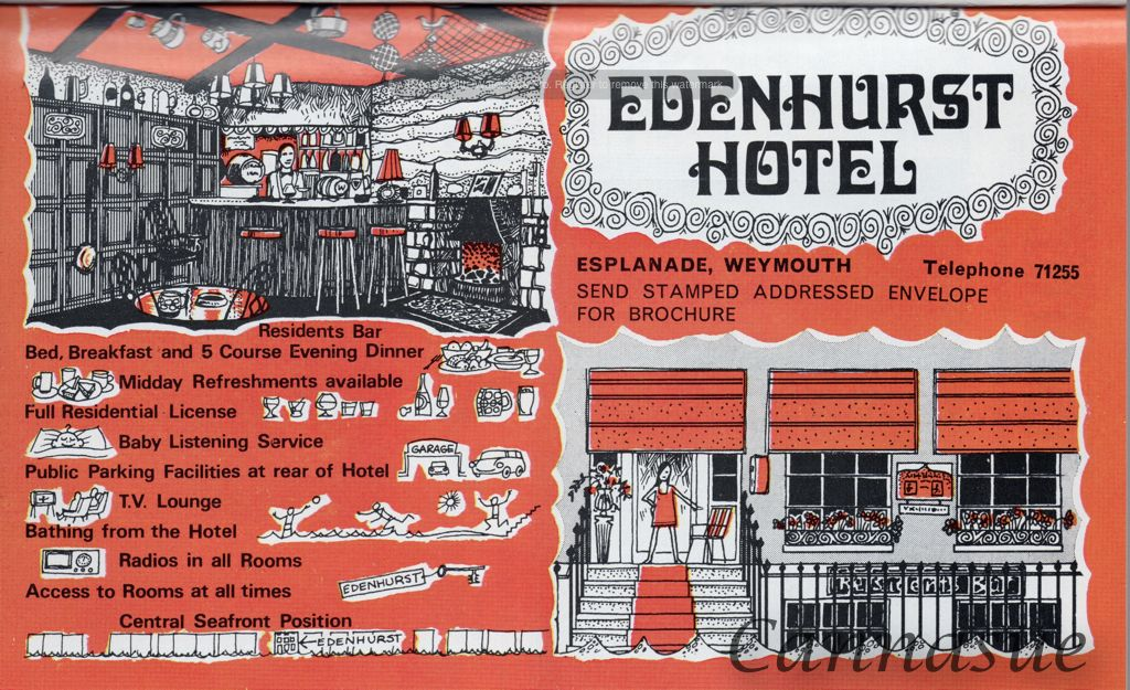 1969, Edenhurst hotel, where you could get a '5 course evening dinner.' Weymouth beach resort and tourism. Love the drawings...wonder if they'd had some junior help?