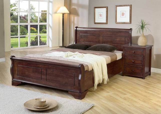 Luxury Sleigh Kingsize Wooden Bed Frame Drawers Instead Of Solid