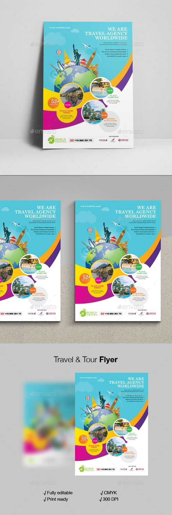 Travel Tour Flyer Template Vector Eps Flyer Templates Flyer