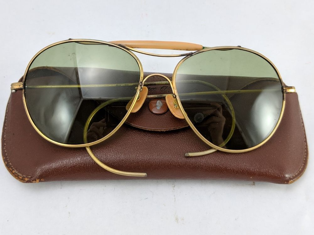 e4689be7e87 Rockglas WW2 Aviator Sunglasses Vintage US Air Force Pilot with Case   Rockglas  Pilot