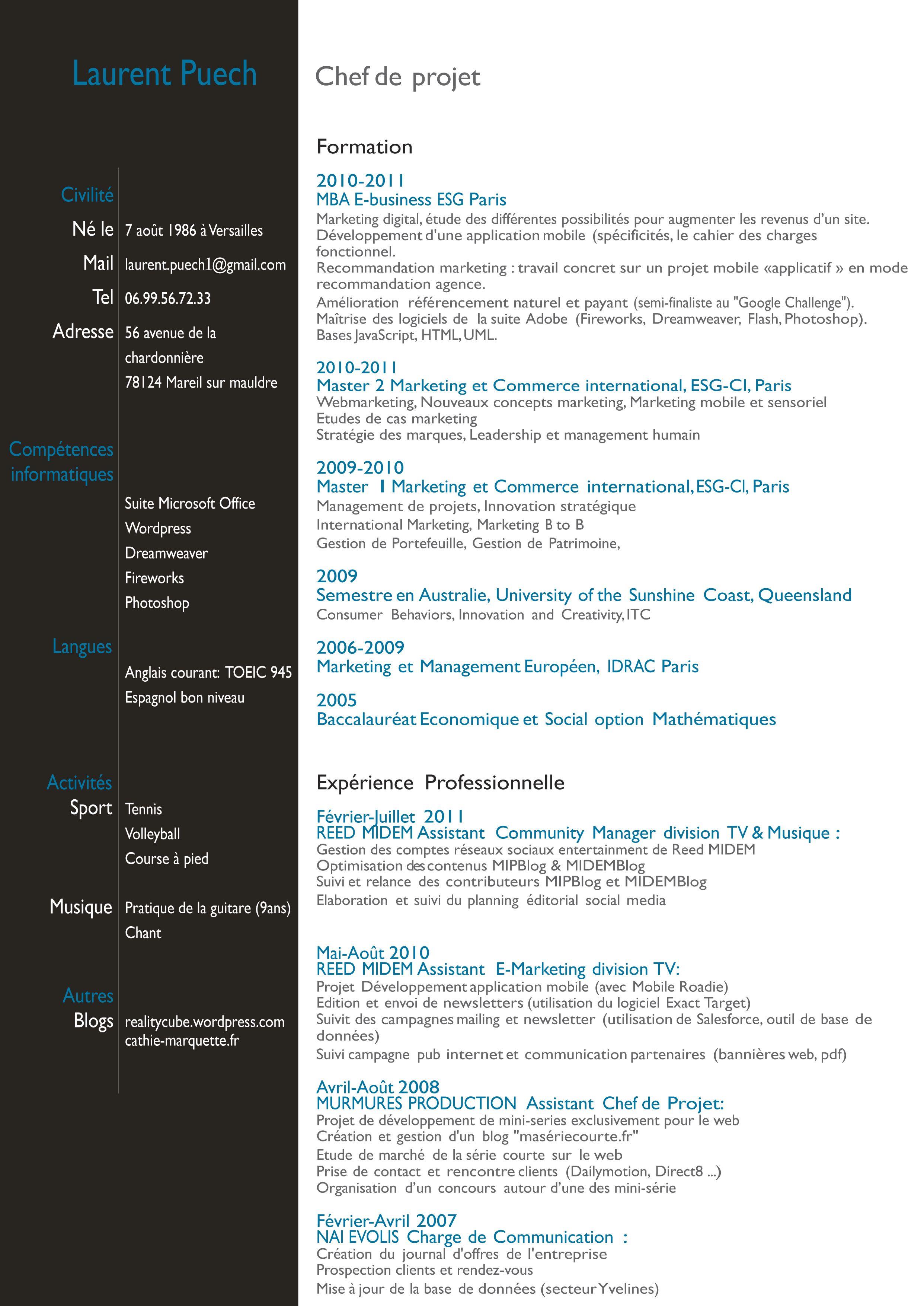 Simple Resume Photoshop Le Cv Travail