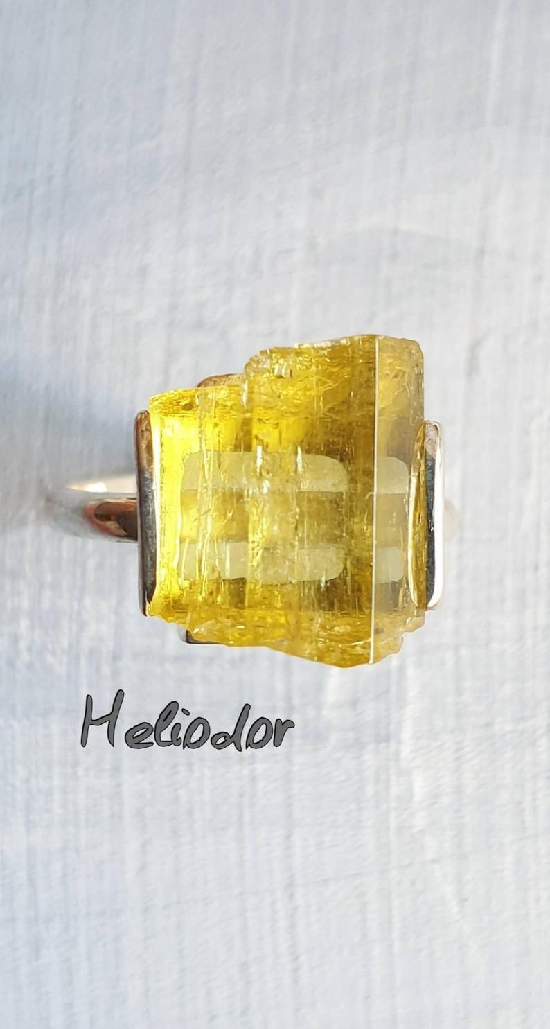 Heliodor Ring Raw Heliodor Engagement Promise Yellow Aquamarine