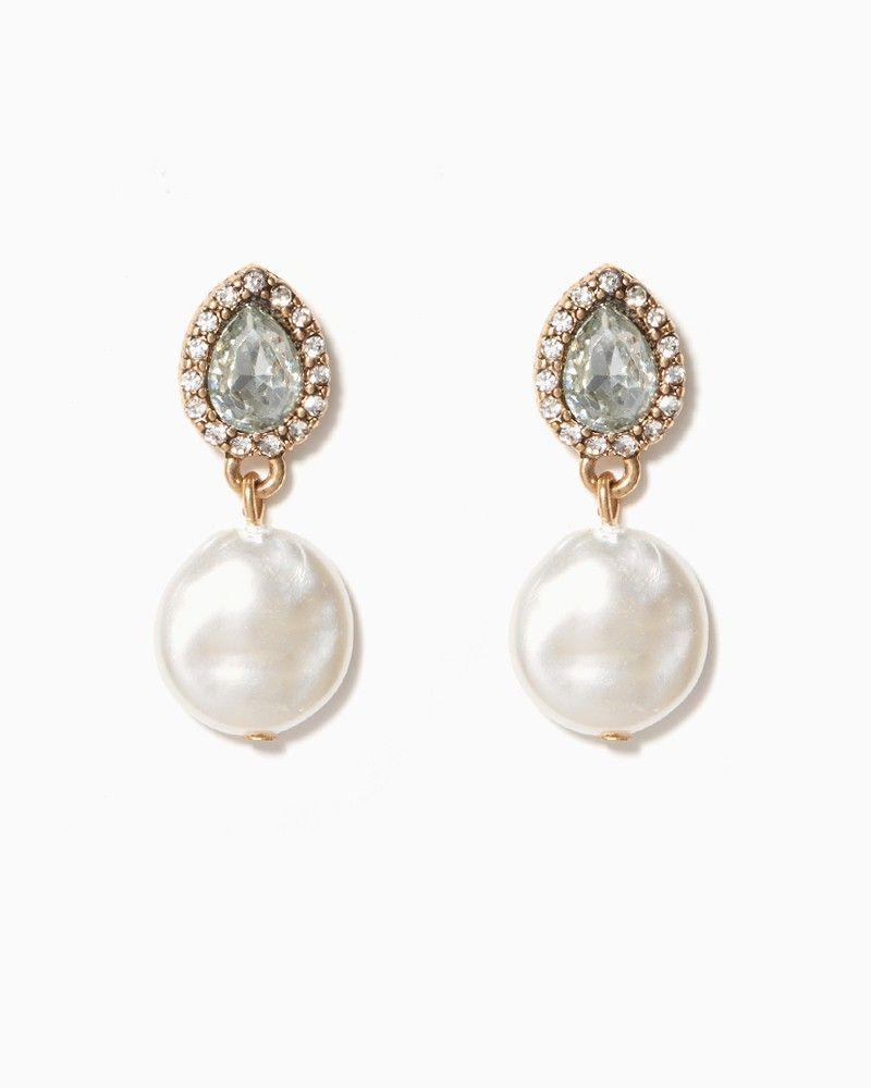 Alicia Pearl Pav Drop Earrings Charming Charlie Wedding