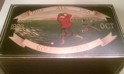 "GOLF DESIGN WOODEN CHEST TRUNK ""USA CLUB"" GOLFER FURNITURE FOR GOLF BALLS TOWEL on eBay!"