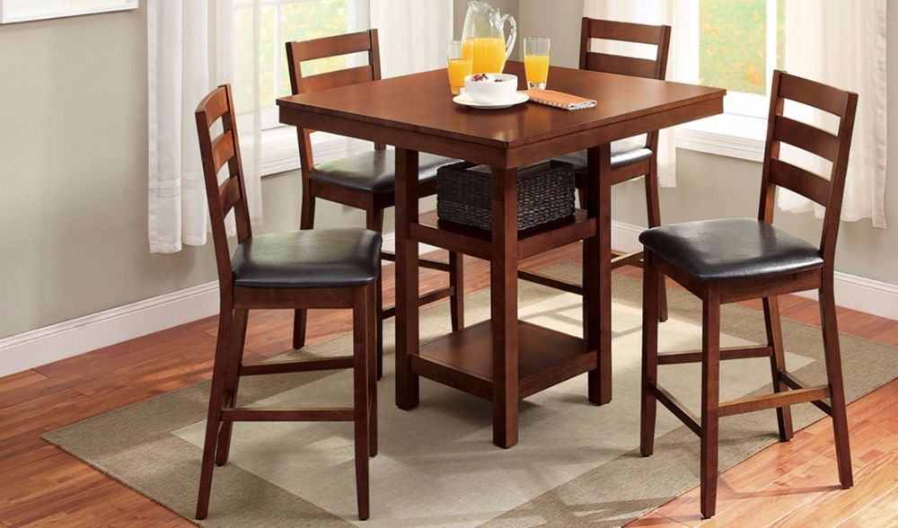Dining Table Set For 4 Small Spaces Kitchen Table And Chairs Pub Counter  Heightu2026