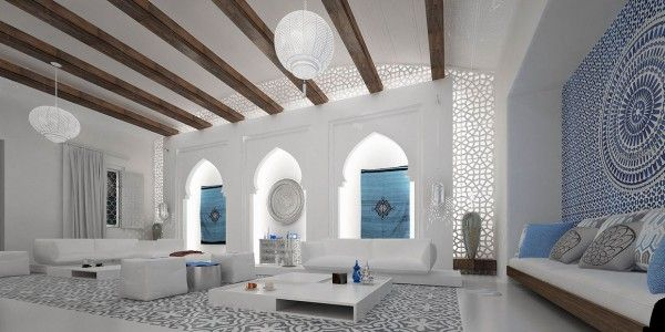 Design And White Sofa Vaulted Ceiling Also Colorful Curtain With Amazing Moroccan Interior Style Modern