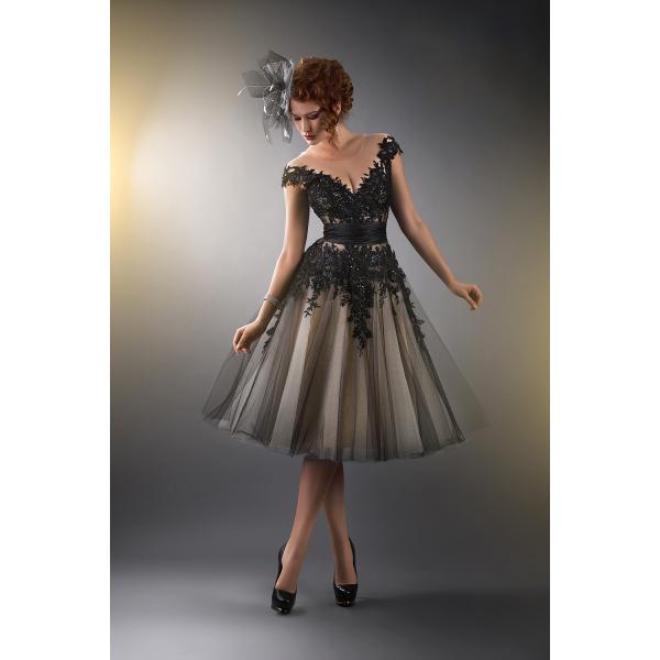 Knee Length Cocktail Dresses 2015 Black Cap Sleeves Formal A-line Appliques Lace Sheer Prom Gowns Vestido De Festa Curto Dress For Womens, $107.81 | DHgate.com