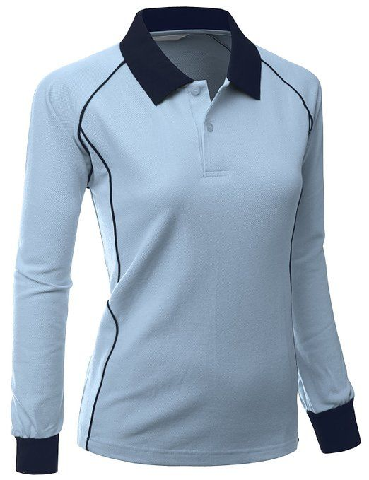 d8c5e2792 This stylish and comfortable womens fabric sporty piping long sleeve collar  golf polo shirt by Xpril offers a 2 tone collar design with piping around  the ...