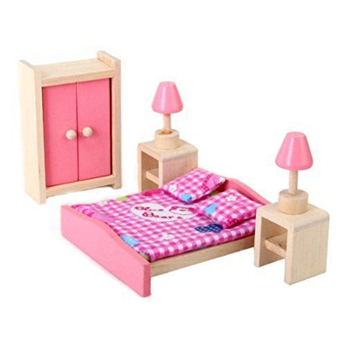 Aisster(TM) Wooden Furniture Dollhouse Miniature Pink Bedroom Set