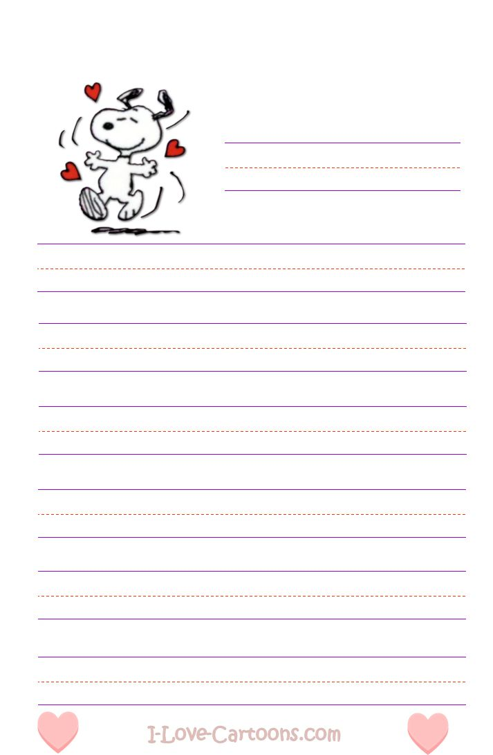 Free Printable Cartoon Valentine\'s Day kid Stationary - I-Love ...