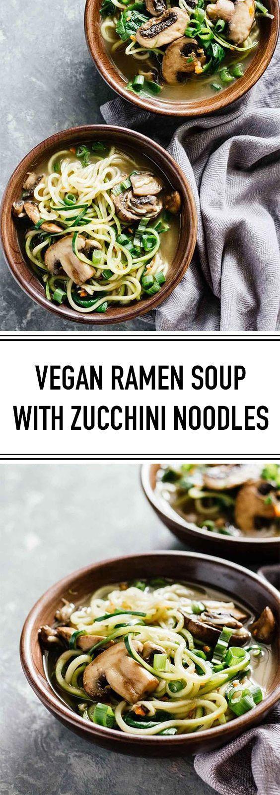 Vegane Ramen - Suppe mit Zucchini - Nudeln Diese vegane Ramen-Suppe mit Zucchini ... -
