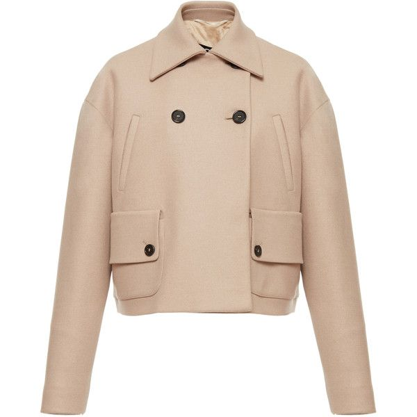 Rochas Cropped Double Breasted Jacket (4.715 BRL) ❤ liked on Polyvore featuring outerwear, jackets, rochas, neutral, double breasted jacket, beige jacket, cropped jacket, collar jacket and beige cropped jacket