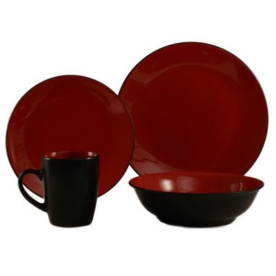 ColorUs China Cleon 16 Piece Dinnerware Set Color Red / Black  sc 1 st  Pinterest & ColorUs China Cleon 16 Piece Dinnerware Set Color: Red / Black ...