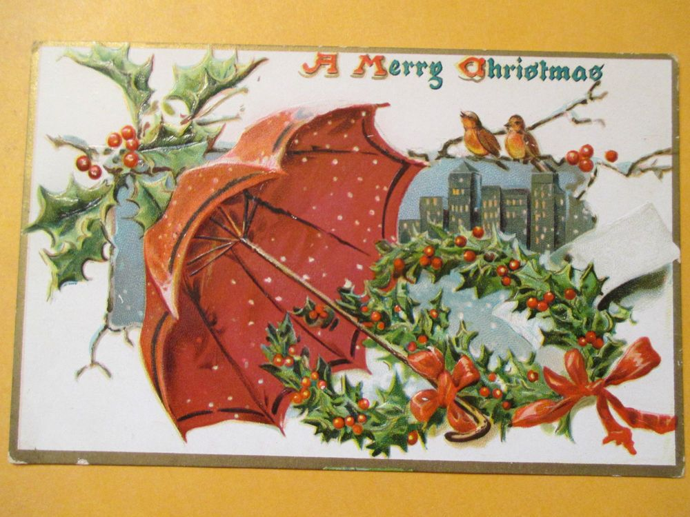 Christmas Mistletoe Postcard unposted Raphael Tuck Saxony Printed         C54 #Christmas