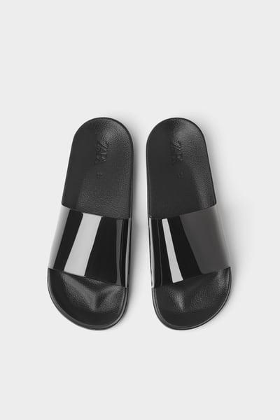 Slide sandals, Sandals, Black sandals