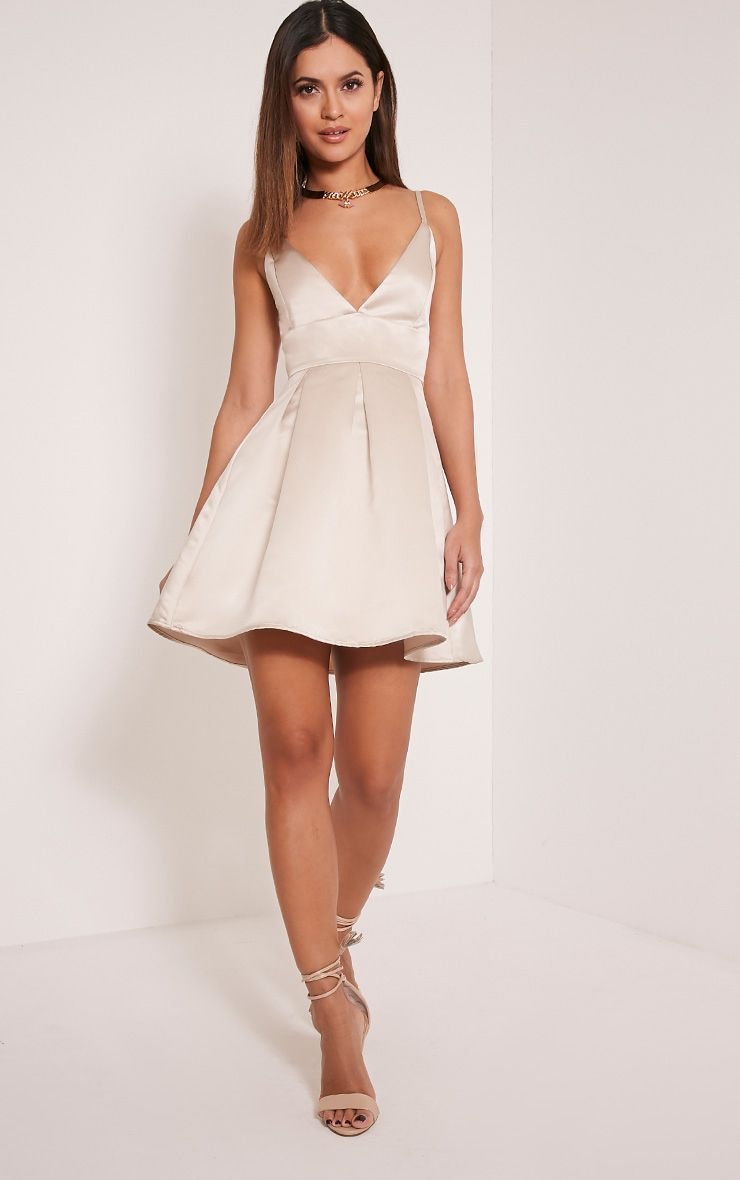 6c815e3154a Annora Champagne Satin Strappy Skater Dress - Dresses - PrettylittleThing