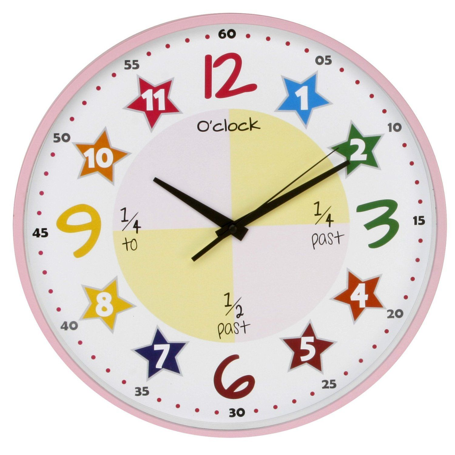 Bright Bold Pink Colourful Teach The Time Wall Clock Amazon Co Uk Kitchen Home Colorful Wall Clocks Wall Clock Simple Clock