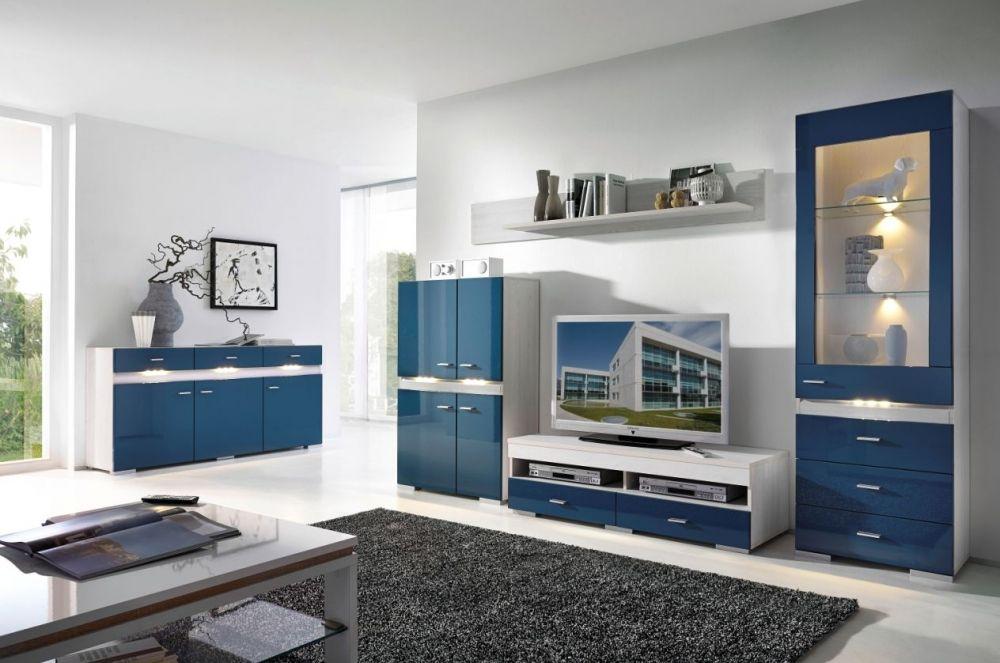 INSIDER Wohnwand II Lärche/Blau | Wohnzimmer | Günstige möbel online ...