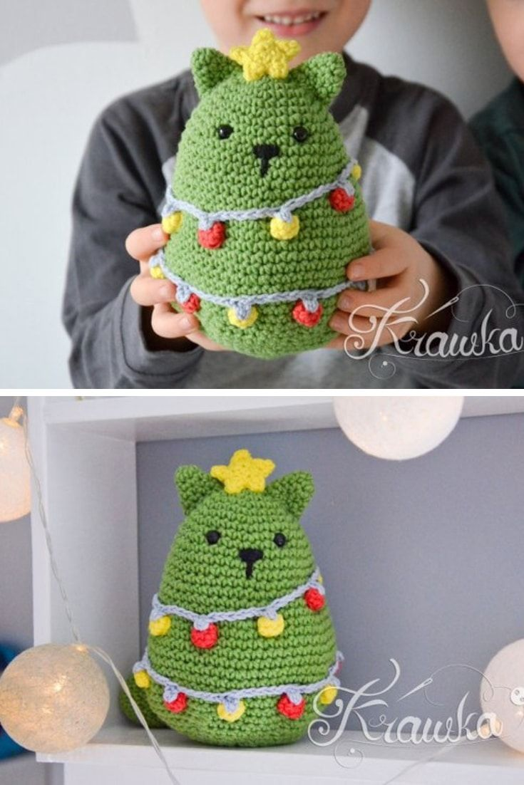 25+ Christmas Tree Crochet Patterns {Including the CUTEST cat!}