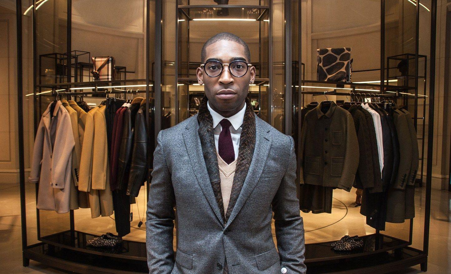 Dapper charcoal suit beige vneck and scarf suitable attire