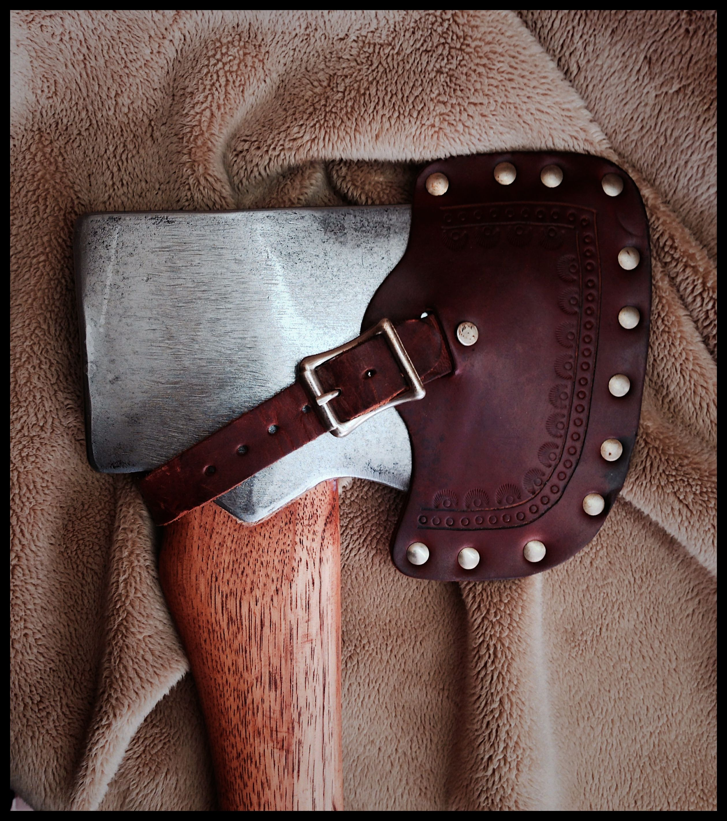 Vintage Jersey Axe with Custom Leather Sheath by John Black