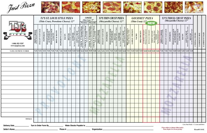 TJs pizza order form  Parent Groups  school   Recipes