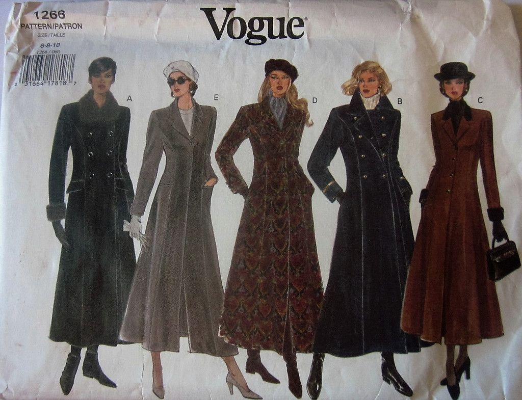 Vogue 1266 Women\'s 90s Long Winter Coat Sewing Pattern Bust 30.5 ...