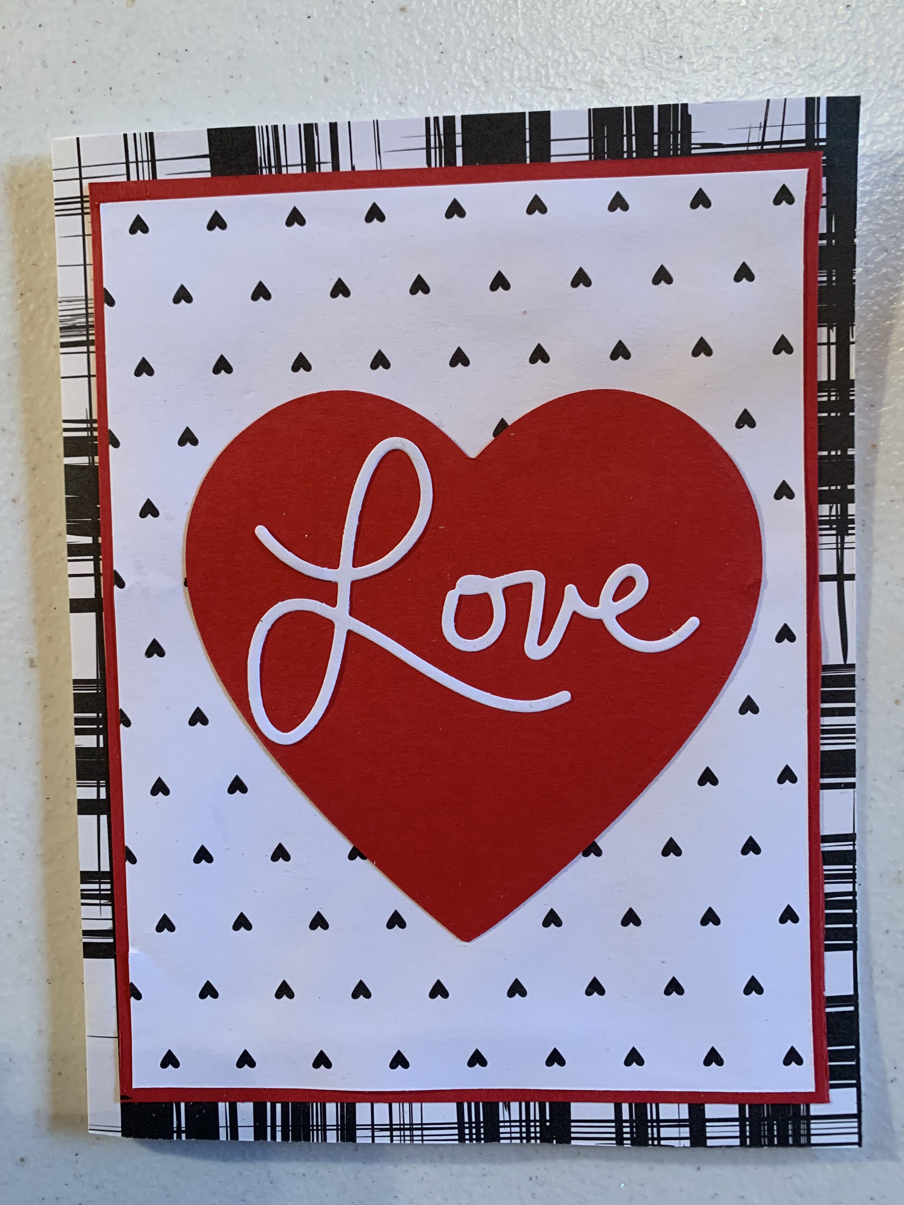 Love Valentine Card In Red White And Black Valentines Cards Homemade Valentines Day Cards Homemade Valentine Cards