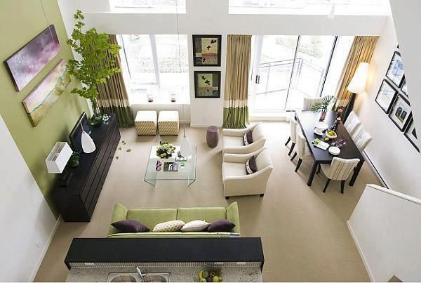 Simple Elegant Space Planning Perfect For A Duplex Apartment Or Condominium Interior Ideas Small Living Dining Colourful Living Room Living Dining Combo