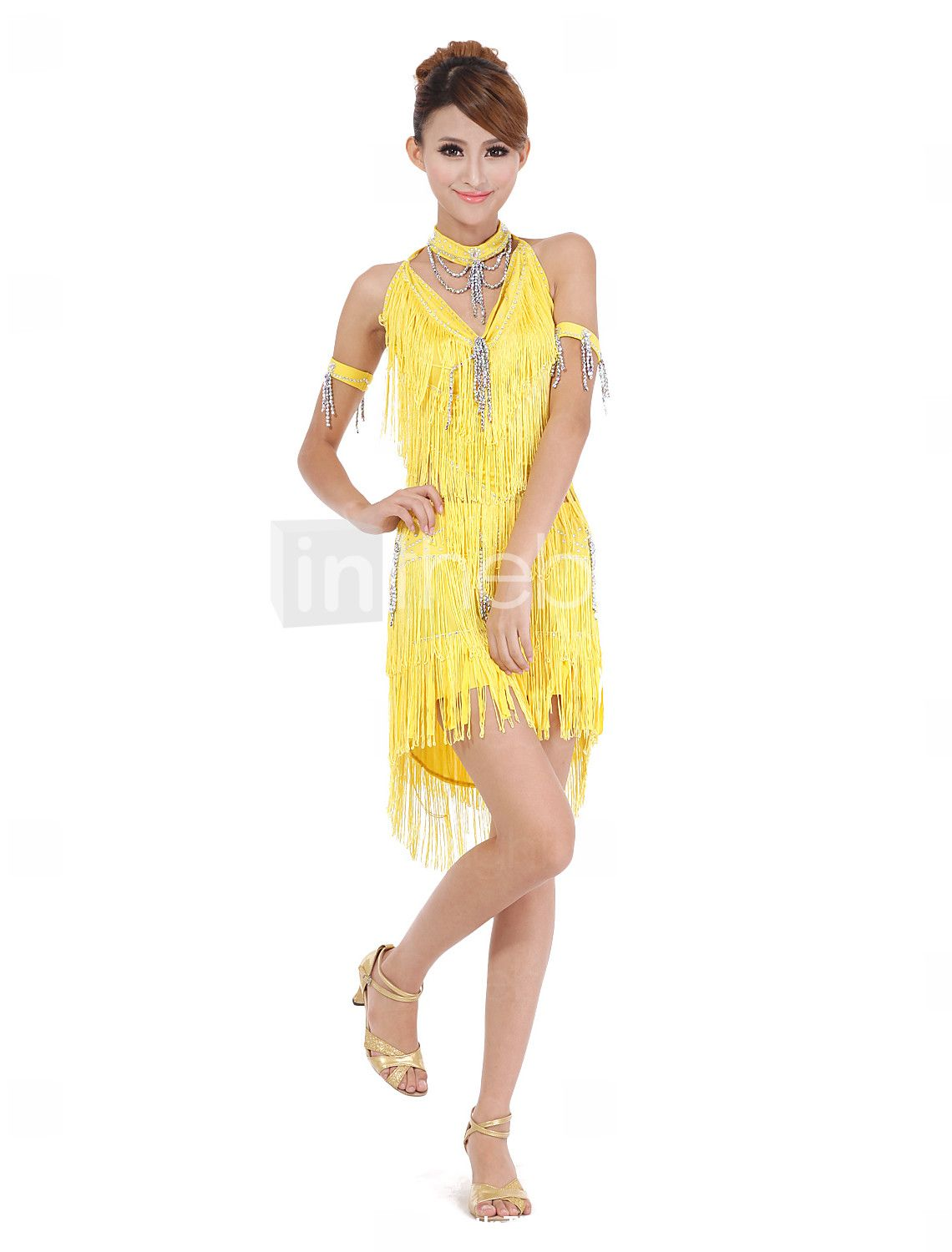 a258e65f711 Performance Dancewear Polyester with Crystal and Tassels Latin Dance Dress
