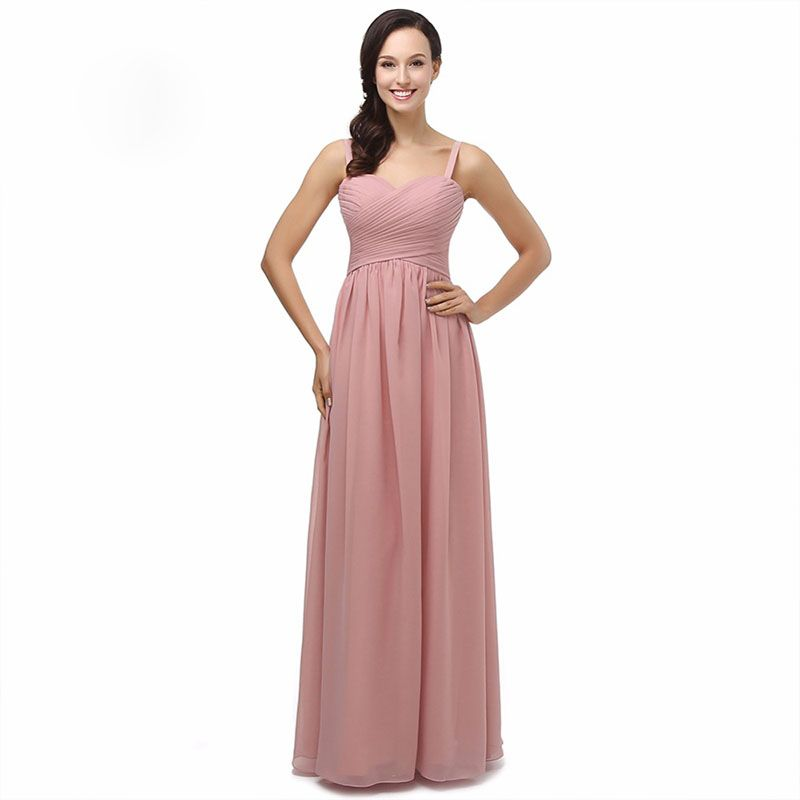 Dusky Pink Long Chiffon Bridesmaids Dresses Spaghetti Wedding ...