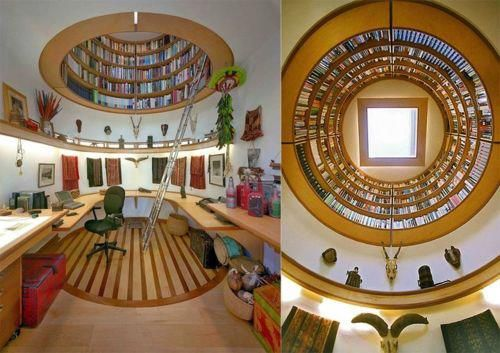 Suspended library by Wade Davis Design