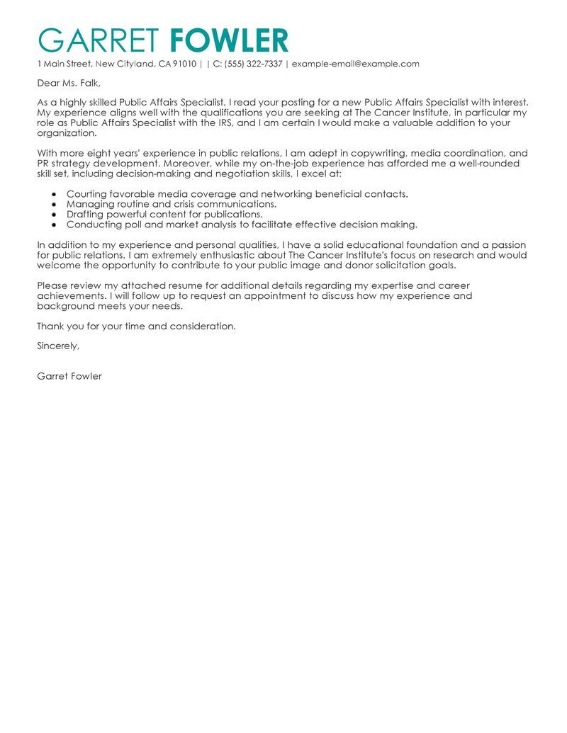 Amazing Best Public Affairs Specialist Cover Letter Examples Livecareer Related  Government Revenues Officer Example