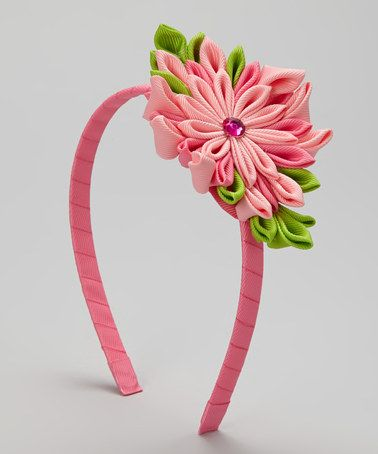 Take a look at this Double Pink Flower Burst Headband by Bubbly Bows on #zulily today!