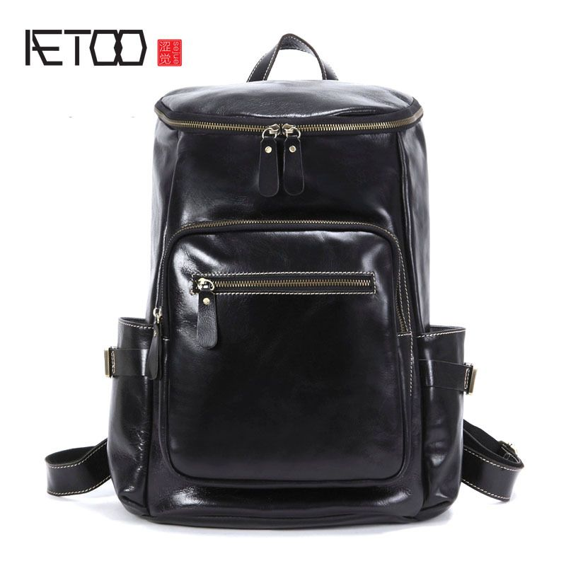 c3e162bf4728 AETOO New first layer of men s leather shoulder bag backpack business trip backpack  leather business laptop