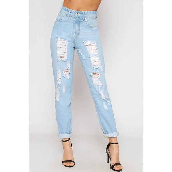 2def9131a59 WearAll Extreme Ripped High Waisted Denim Mom Jeans ($41) ❤ liked on  Polyvore featuring jeans, light blue, light blue distressed jeans, distressed  denim ...