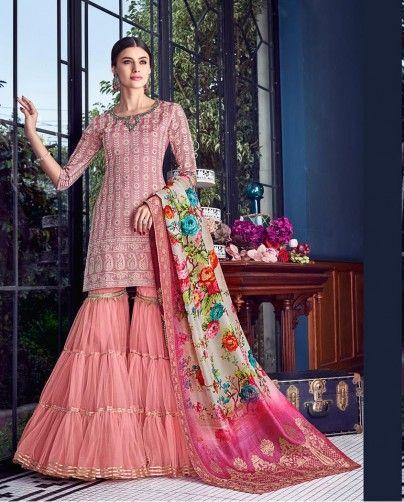 Pink Embroidered Designer Sharara Suit Fashion Indian Fashion Sharara Designs