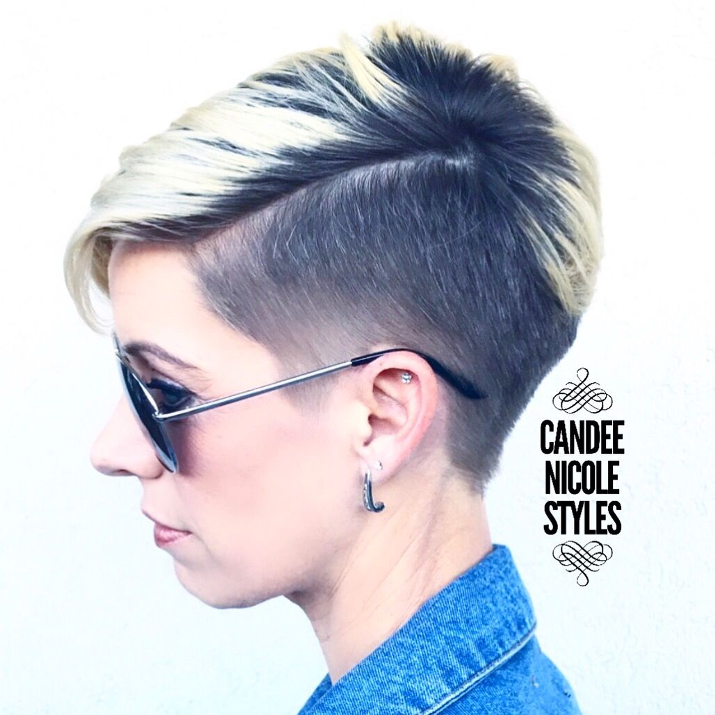 side shave with fade pixie cut blonde hair by candee nicole